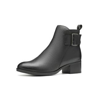 clarks其乐女鞋秋冬复古英伦风优雅中跟短靴踝靴女靴子百搭