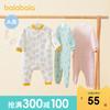 巴拉巴拉婴儿衣服宝宝连体衣新生儿和尚服0-1岁爬服家居服夹棉暖(白灰色调0312-28334202481、73cm )