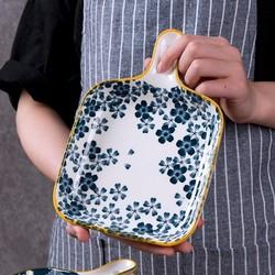 溢壶醉 盘子菜盘日式家用陶瓷西餐盘子创意带手柄平盘微波炉焗饭烤盘餐具