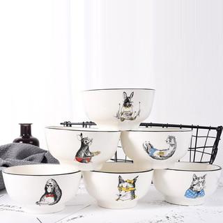 竹木本记 动物款釉下彩骨瓷餐具套装 饭碗 6个装