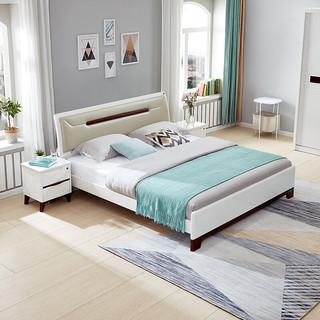 QuanU 全友 双人床简约北欧卧室软靠板式床婚床带床垫组合大床 121806 1.8米床+床头柜*1+105001床垫
