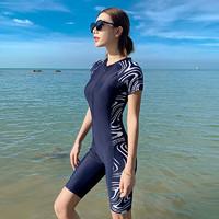 泳衣女保守连体平角2021新款性感遮肚显瘦专业运动大码女士游泳装(XL码(建议体重115-125斤)、藏青(五分))