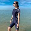 泳衣女保守连体平角2021新款性感遮肚显瘦专业运动大码女士游泳装(2XL码(建议体重125-135斤)、藏青色+透明泳镜+泳帽)