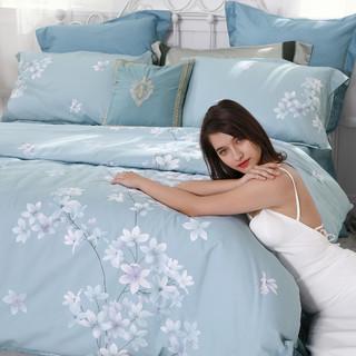 水星家纺40支全棉印花春夏套件清新花卉四件套居家宿舍床单被套(1.8m(6英尺)床、梦入梵花)