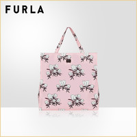 FURLA芙拉DIGIT女士大号印花手提袋托特袋包容量超大帆布购物袋(黑色花色)