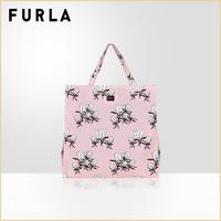 FURLA芙拉DIGIT女士大号印花手提袋托特袋包容量超大帆布购物袋(黑色+纯白色+淡粉色)