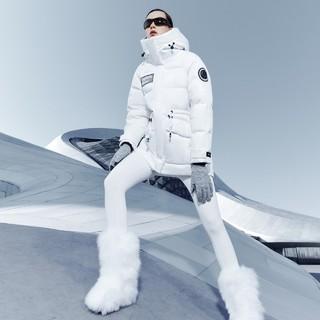 波司登极寒短款羽绒服女鹅绒加厚收腰冬装白色B00142976(170/92A、黑色)