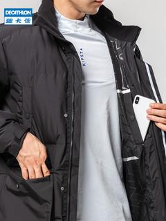 迪卡侬长款羽绒服运动羽绒服工装外套长款冬季男女棉羽轻黑MSCW 8626516(S、浅灰色)