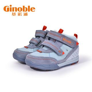 基诺浦2020新冬款机能鞋学步宝宝冬鞋男女童儿童鞋子TXG988(150、黑色/深灰/辣椒红.)