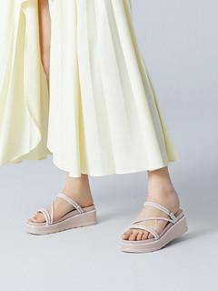 百丽松糕凉鞋女夏商场同款凉拖外穿水钻休闲厚底凉鞋V2A1DBT0(39、银色)