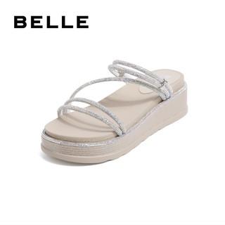 百丽松糕凉鞋女夏商场同款凉拖外穿水钻休闲厚底凉鞋V2A1DBT0(37、黑色)