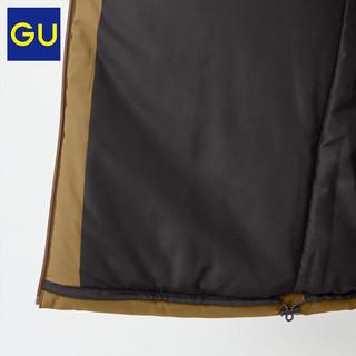 GU极优男装HEAT PADDED夹层拼接茄克潮流宽松休闲夹克外套328563(180/108B/XL、36 褐色)