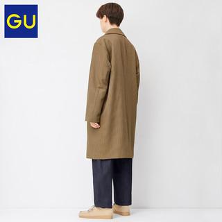 GU极优男装宽松格纹大衣时尚潮流商务通勤大衣男中长款328943(175/100A/L、03 灰色)