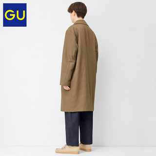 GU极优男装宽松格纹大衣时尚潮流商务通勤大衣男中长款328943(175/100A/L、08 深灰色)