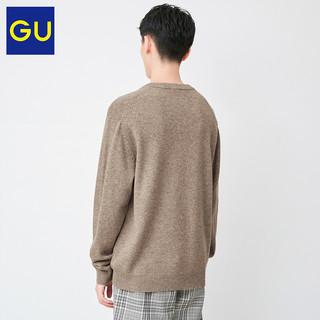 GU极优男装柔软羊仔毛混纺V领针织衫冬季舒适毛衣羊绒衫男328379(165/84A/S、69 藏青色)