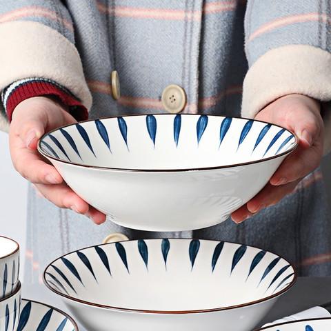 颜来 家用面碗组合汤碗创意泡面碗陶瓷沙拉碗微波炉大碗 流星雨2个8英寸汤面碗(釉下彩)