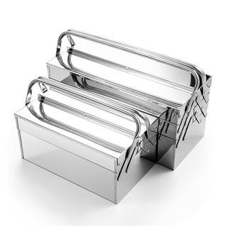 Wynn's不锈钢工具箱大号三层折叠家用整理箱车载手提式铁皮工业级