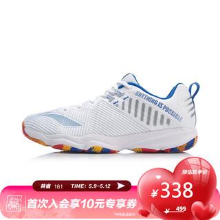 LI-NING 李宁 李宁官网男鞋羽毛球专业比赛鞋变色龙RANGER4.0TD男子低帮耐磨防滑运动鞋AYTP031 标准白/晶蓝色-2 42