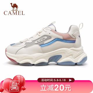 CAMEL 骆驼 骆驼(CAMEL)骆驼运动鞋女新款ins潮增高显瘦超火休闲老爹鞋 A1153L1601 米/粉 38