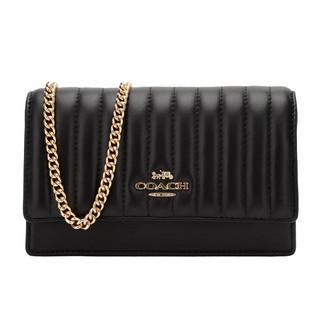 COACH 蔻驰 女士新款时尚黑色皮质小号单肩斜挎包链条包腰包两用包 2664 IMBLK礼物