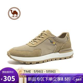 CAMEL 骆驼 骆驼牌 休闲鞋男百搭复古阿甘鞋跑步鞋舒适耐磨潮流运动鞋 W112247830 浅卡其 40