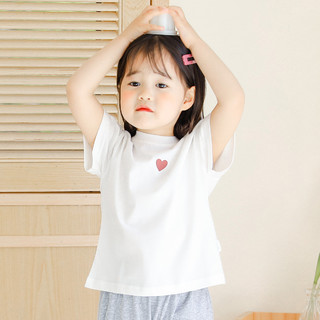 YUZHAOLIN 俞兆林 女童短袖T恤夏季纯色百搭棉21夏新款女童T恤宝宝短袖儿童短袖