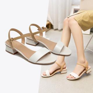 AOKANG 奥康 奥康女鞋 2021年夏季新款羊皮拼色粗跟一字带女凉鞋