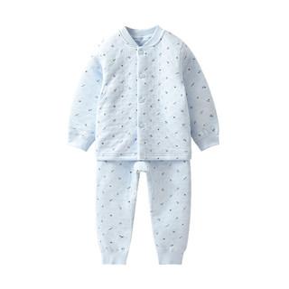 【单品包邮】童泰婴儿纯棉衣服0-1-3岁宝宝加厚保暖内衣套装(白色、73cm )