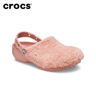 Crocs女休闲鞋卡骆驰经典暖绒毛毛鞋平底外穿拖鞋休闲凉鞋|206625(37/38、黑色-001)