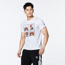 adidas 阿迪达斯 潮流男子透气宽松圆领运动服休闲白色短袖T恤
