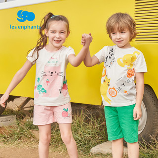 丽婴房童装男女童纯棉套装儿童新款运动套装卡通T恤短裤夏装2021(柠檬/棉100%、130cm )