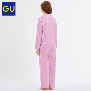 GU极优女装缎纹睡衣新款简约日系舒适家居服套装327994(165/92A/XL、41 杏黄色)