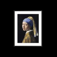 buybuyART 买买艺术 买买艺术 维米尔《戴珍珠耳环的少女》客厅 卧室 装饰画 黑色画框 画框尺寸50*40cm