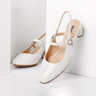 Bata 拔佳时尚优雅羊皮后空女士凉鞋真皮包头凉鞋高跟鞋单鞋女鞋