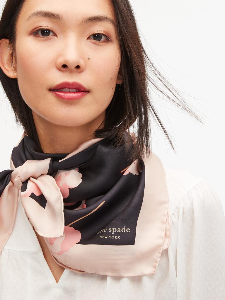 Kate Spade 凯特丝蓓 falling poppies silk square scarf