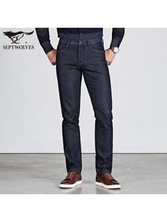 SEPTWOLVES 七匹狼 七匹狼牛仔裤2020秋冬季新款男士直筒加绒宽松休闲加厚长裤子男装