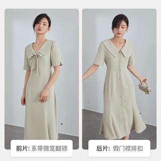 范思蓝恩蝴蝶结V领连衣裙女夏季2021年新款前后两穿裙子气质长裙 Z211010 卡其色 XS