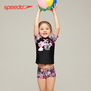 Speedo/速比涛柔软抗氯卡通印花1-9岁儿童防晒分体泳衣女水陆两用(5、黑色/粉色)