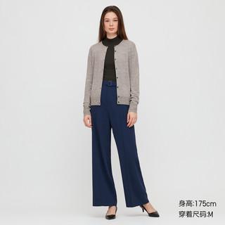优衣库 女装 精纺美利奴圆领开衫(长袖) 428858 UNIQLO(160/88A/L、08 深灰色)