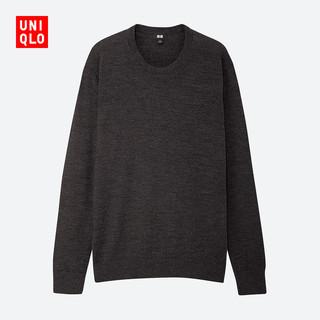 优衣库 男装 精纺美利奴圆领针织衫(长袖) 419190 UNIQLO(185/112C/XXL、08 深灰色)