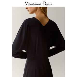 季末折扣 Massimo Dutti女装 黑色圆领连衣裙 06638757800(XS (165/84A)、黑色)