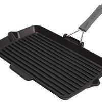 STAUB 珐宝  铸铁矩形煎锅,黑色,34厘米