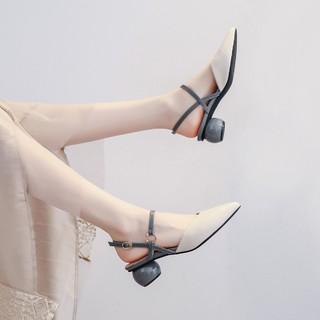 RUXI 如熙 软皮鞋中跟女单鞋尖头新款职业包头凉鞋真皮垫凉拖鞋