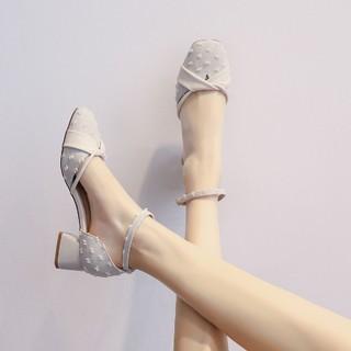 RUXI 如熙 一字扣后空单鞋浅口中跟包头凉鞋女夏时尚高跟鞋镂空女鞋罗马鞋子