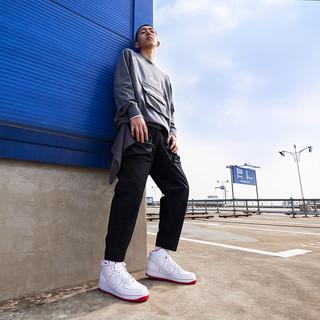 Nike 耐克官方AIR FORCE 1 HIGH '07 男子运动鞋新款复古CV1753(40、100白色/白色/大学红)