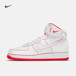 Nike 耐克官方AIR FORCE 1 HIGH '07 男子运动鞋新款复古CV1753(47.5、100白色/白色/大学红)