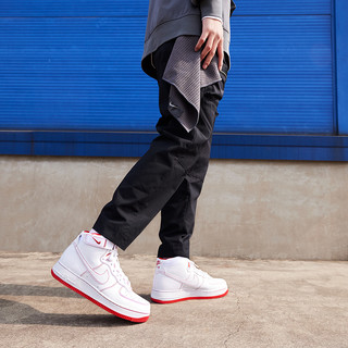 Nike 耐克官方AIR FORCE 1 HIGH '07 男子运动鞋新款复古CV1753(44.5、101白色/白色/赛车蓝)