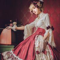 圆点点小姐 伊丽莎白 洛丽塔 复古蕾丝姬袖衬衫  白色 S
