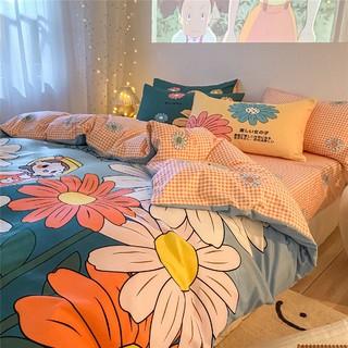 LACASA 乐卡莎 日系磨毛卡通床上被套床单四件套少女心公主风床品床笠三件套