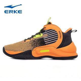 ERKE 鸿星尔克 鸿星尔克跑步鞋男2021春夏新款减震耐磨运动鞋轻便透气舒适慢跑鞋 月季橙/正黑 42
